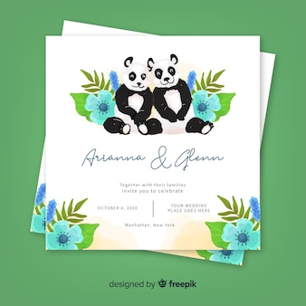 Watercolor animal wedding invitation template