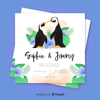Watercolor animal wedding invitation template