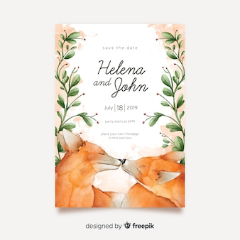 Watercolor animals wedding invitation template