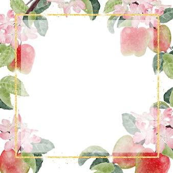Акварель яблочный цветок и фрукты с золотой рамкой с блестками
