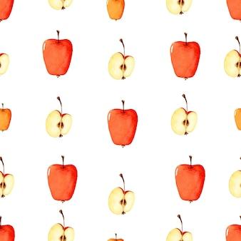 Бесшовные обои акварель яблоко