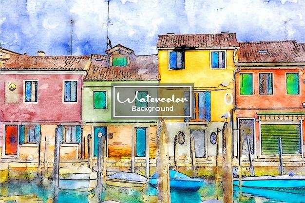Watercolor architecture background