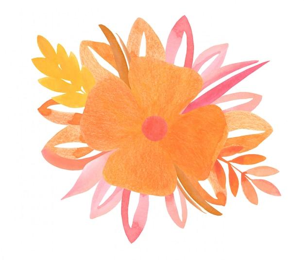 Акварельная композиция из желтых оранжевых цветочных элементов и цветов
