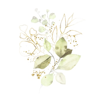 Watercolor arrangement with green leaves golden herbs bouquet