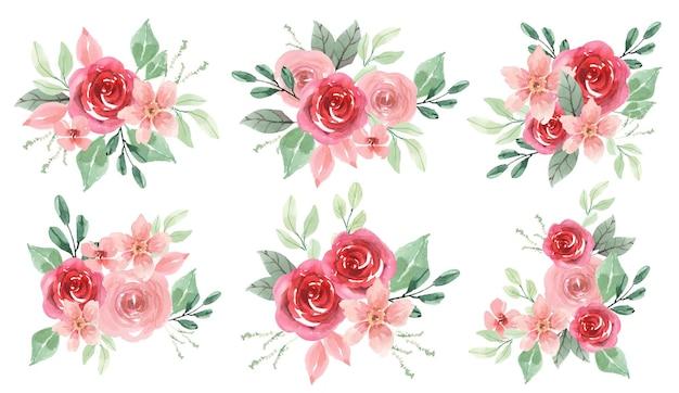 핑크와 붉은 장미의 수채화 배열 꽃다발