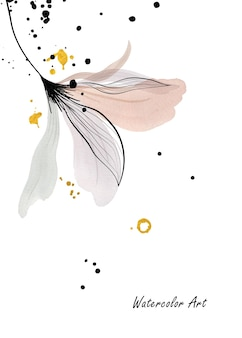 Watercolor art invitation card of natural gentle floral decorated with gold drops. art botanical watercolor hand-painted isolated on white background. brush included in file.