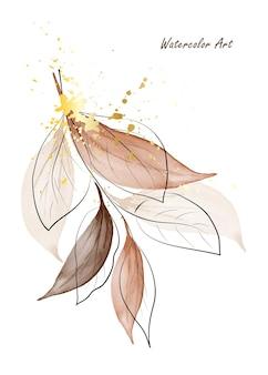 Пригласительный билет акварельного искусства из ветвей коричневых листьев, украшенных золотыми вкраплениями. акварель ручная роспись, изолированные на белом фоне. идеально подходит для открыток или настенного искусства. кисть включена в файл.
