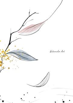 Акварельное искусство пригласительный билет осенних естественных нежных листьев ветвей, украшенных золотыми каплями. художественная ботаническая акварель ручная роспись, изолированные на белом фоне. кисть включена в файл.