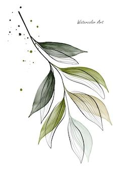 緑の葉の枝の水彩画アート招待状。アート植物水彩手描きは、白い背景で隔離。グリーティングカードや壁の装飾に最適です。ファイルに含まれているブラシ。