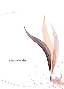 Пригласительный билет акварельного искусства из натуральных нежных листьев, украшенных каплями розового золота. художественная ботаническая акварель ручная роспись, изолированные на белом фоне. кисть включена в файл.