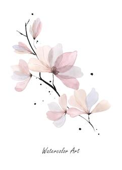 Пригласительный билет акварельного искусства из натурального нежного розового цветка и ветвей. художественная ботаническая акварель ручная роспись, изолированные на белом фоне. кисть включена в файл.