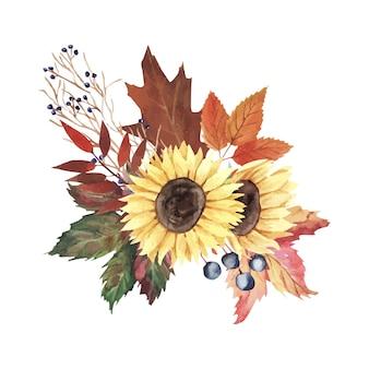 잎과 열매가 있는 수채화 예술. 꽃과 잎이 있는 가을 꽃다발. 벡터 일러스트 레이 션