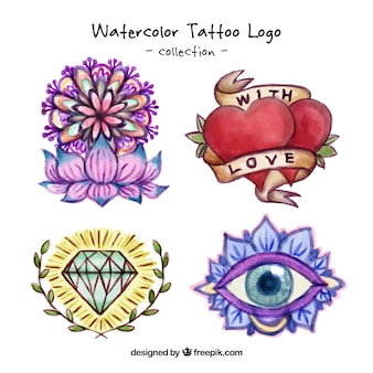 Watercolor artistic tattoo logos
