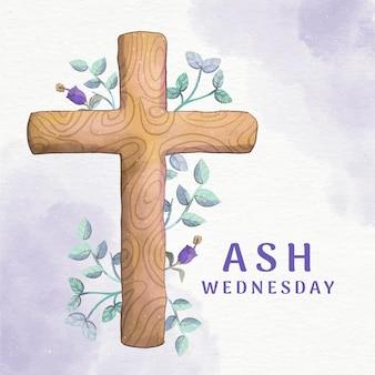 水彩灰の水曜日の十字架