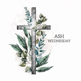 Watercolor ash wednesday illustration
