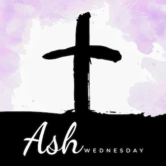 Watercolor ash wednesday lettering