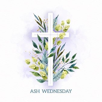 Watercolor ash wednesday template