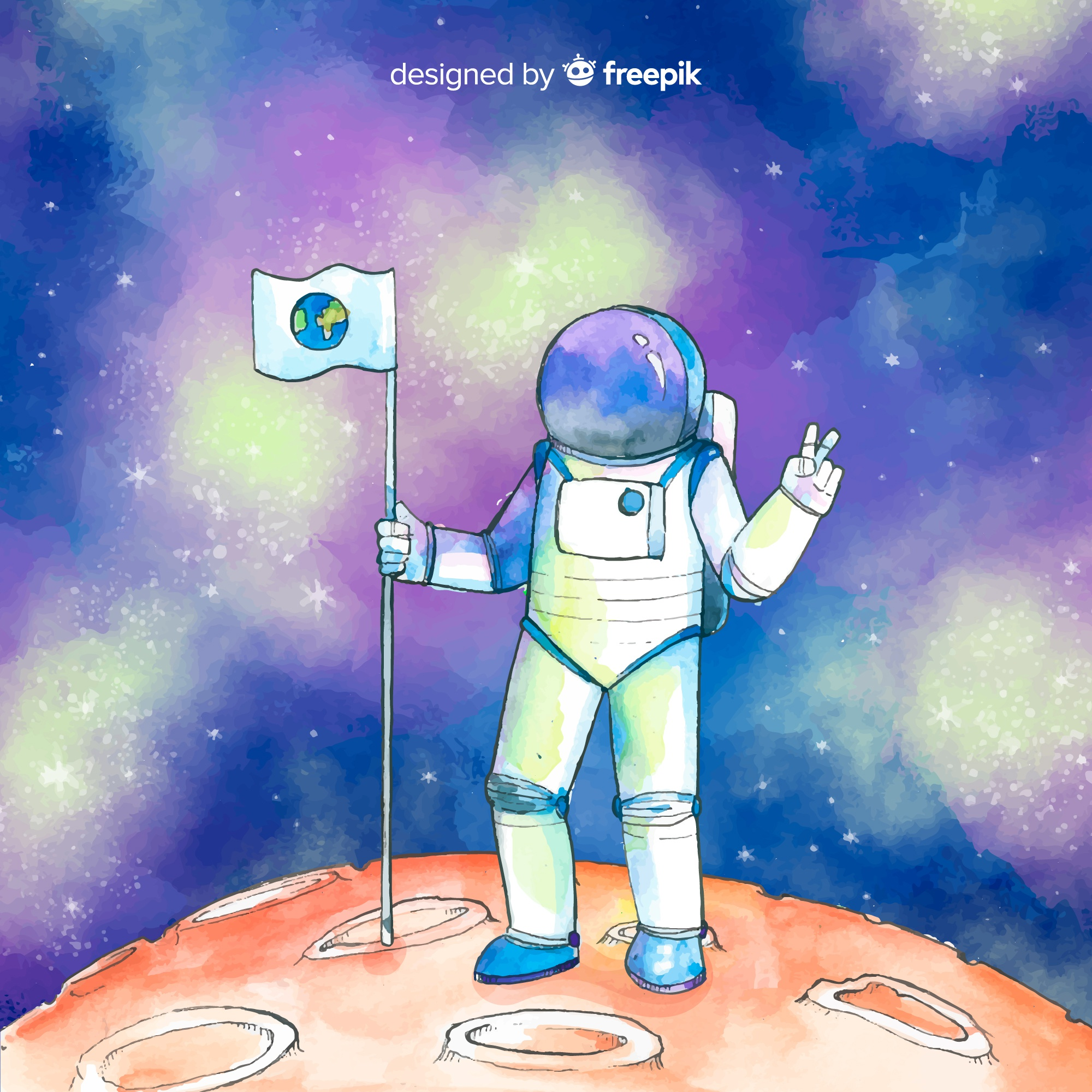 Watercolor astronaut character in the space