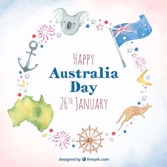 Watercolor australia day background with different elements