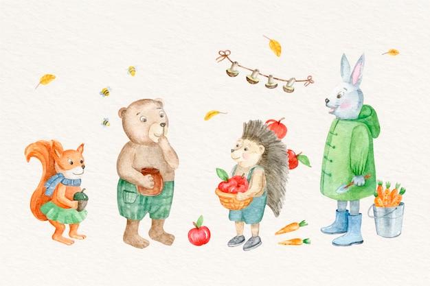 수채화 가을 동물 컬렉션