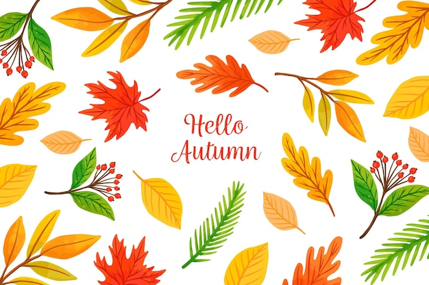 Watercolor autumn background theme