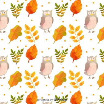 Watercolor autumn background with animals