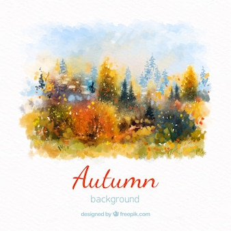 Watercolor autumn background with forest