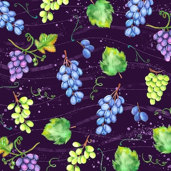 Watercolor autumn background with grapes and leaves