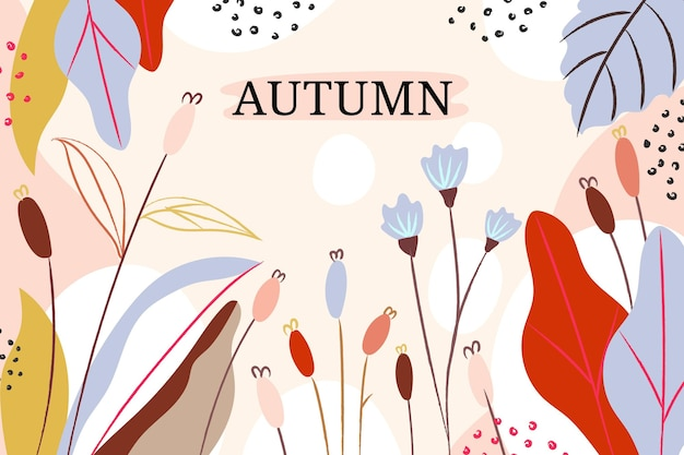 Watercolor autumn background with leaves and flowers