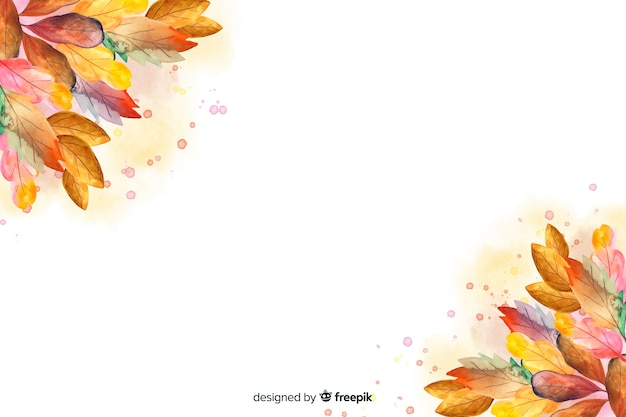 Watercolor autumn background with leaves