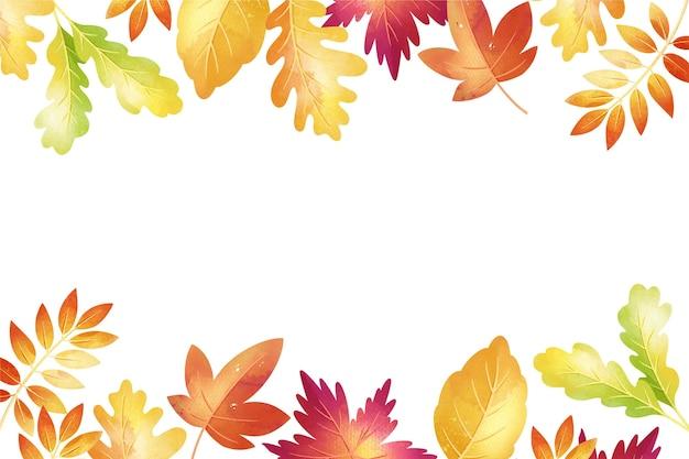 葉と水彩の秋の背景