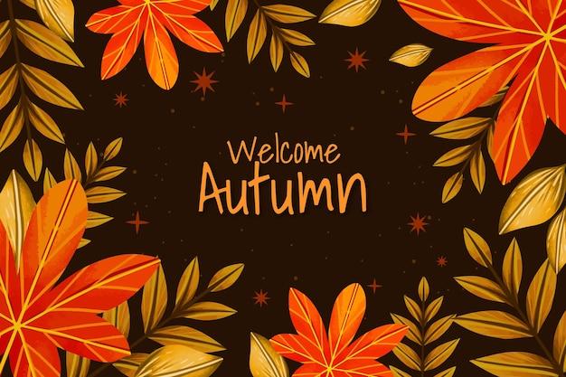 Sfondo autunno acquerello con foglie