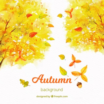 Watercolor autumn background with yellow trees