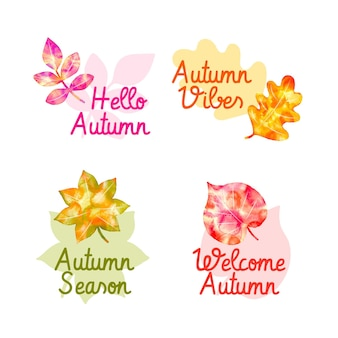 Watercolor autumn badge collection