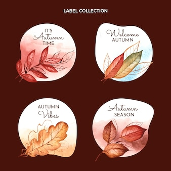 Watercolor autumn badges collection