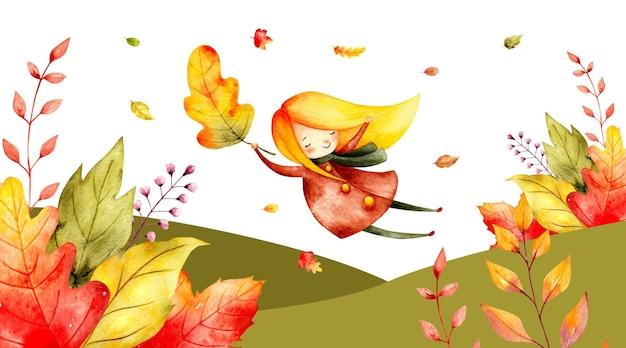 葉と水彩の秋のバナー空飛ぶ少女