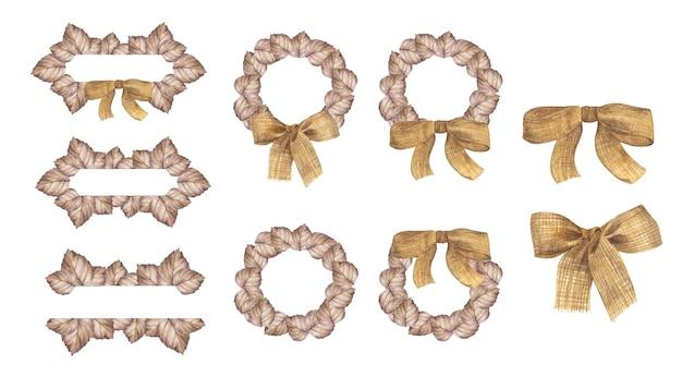 Акварель осенний баннер с листьями и лентой. иллюстрация для поздравительных открыток.