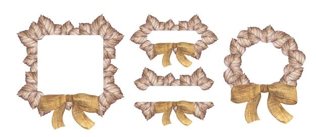 잎과 리본이 있는 수채화 가을 배너. 인사말 카드에 대 한 그림입니다.