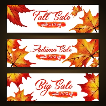 Watercolor autumn banner