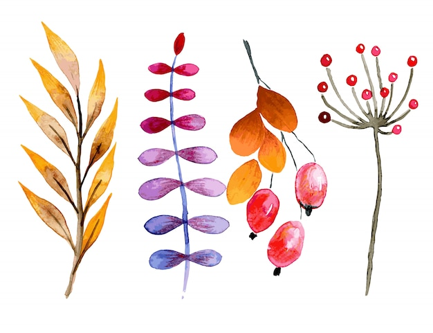 Watercolor autumn banner.