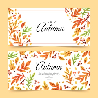 Watercolor autumn banners template