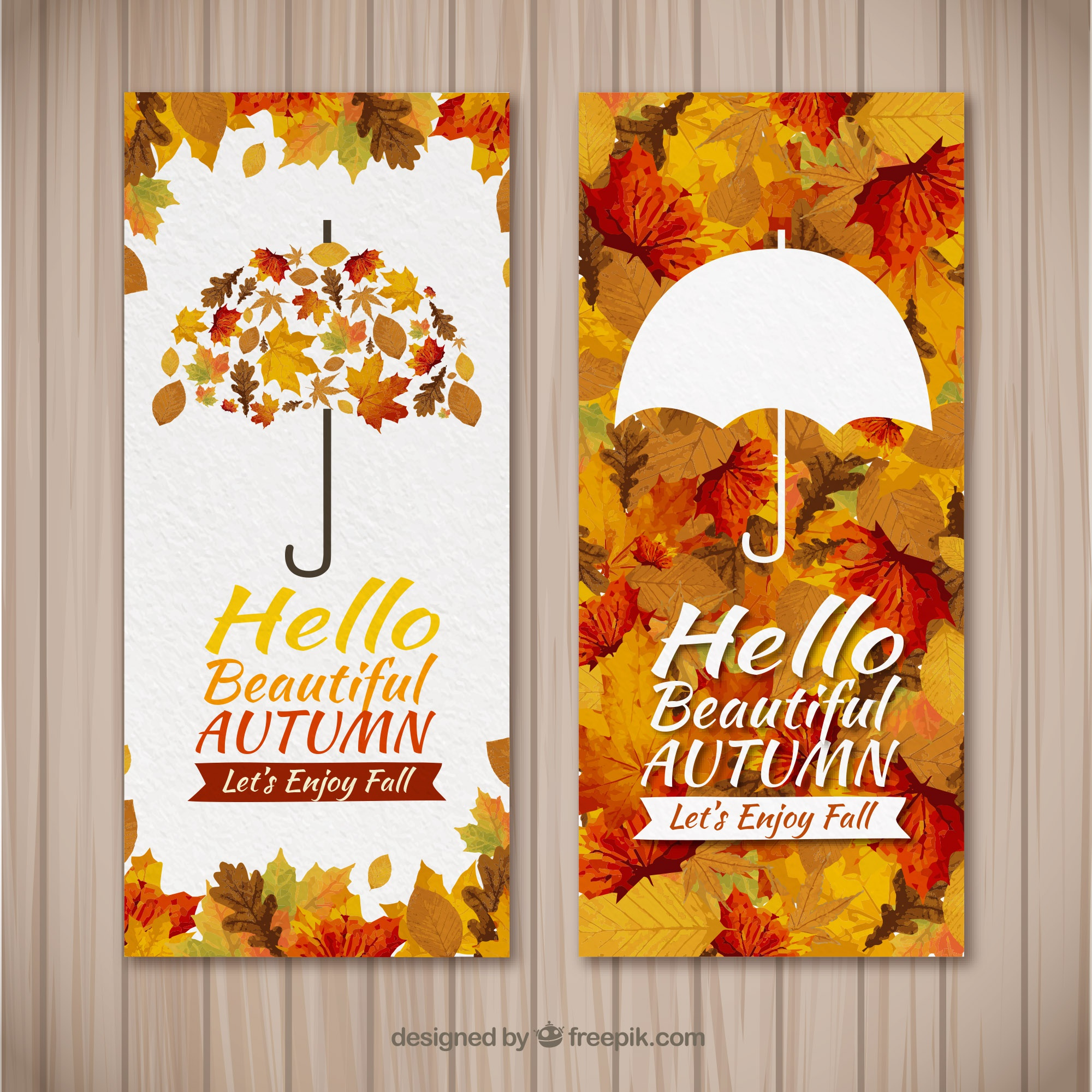 Watercolor autumn banners with modern style