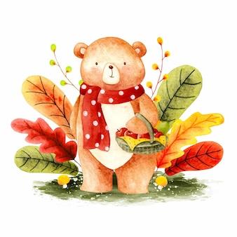 Акварельный осенний медведь с корзиной яблок