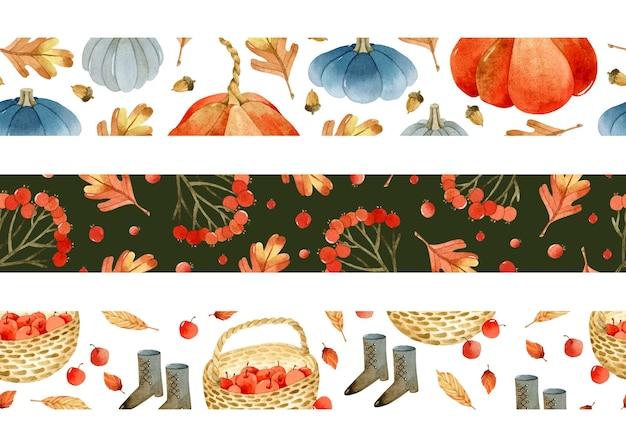 カボチャと水彩の秋の境界線テンプレートはリンゴを残します