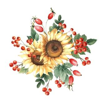 ひまわりとナナカマドの果実の水彩画の秋の花束。
