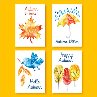 Watercolor autumn card collection
