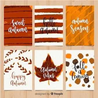 Watercolor autumn card set