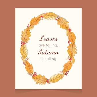 Watercolor autumn card with a wreath