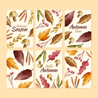 Watercolor autumn cards collection