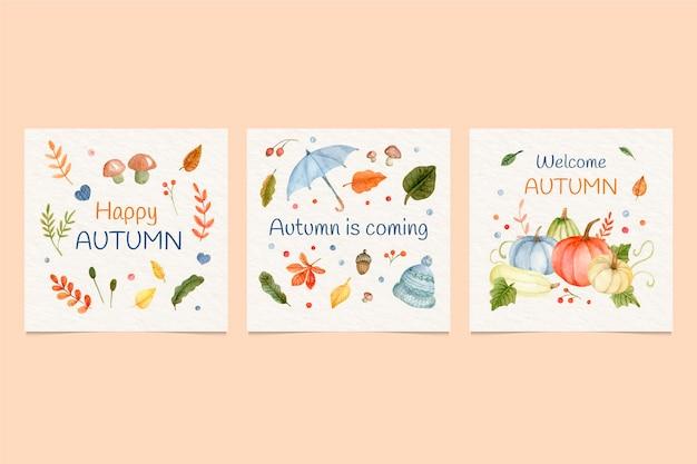 Collezione di carte autunnali ad acquerello Vettore gratuito